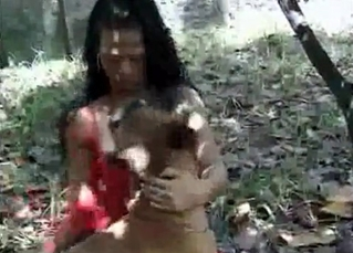 Outdoors bestiality with a Latina